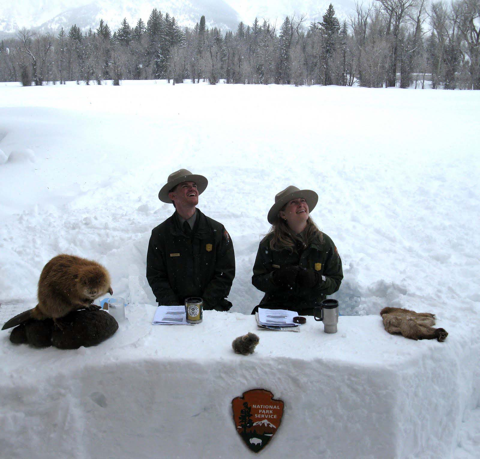 Grand Teton National Park rangers Clay Hanna & Kristen Dragoo broadcast in 2011 from their snowdesk located outside of the Craig Thomas Discovery & Visitor Center in Moose, Wyo. (NPS photo Ñ click to enlarge)