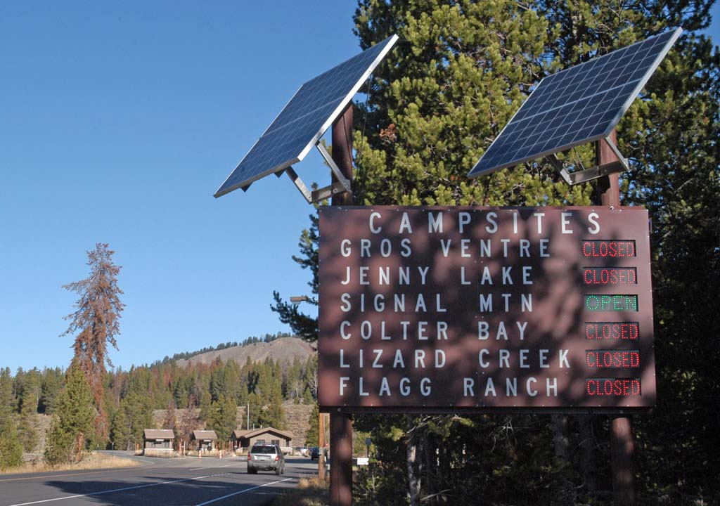 """Signs will begin switching from """"closed"""" to """"open"""" soon in Grand Teton National Park as facilities prepare for the May 1 start of the 2012 summer season. (Ruffin Prevost/Yellowstone Gate - click to enlarge)"""