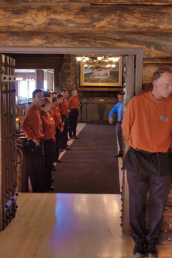 Dining room workers at the Old Faithful Inn line up to welcome customers.