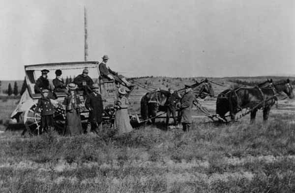 Emma Cowan and her husband return in 1905 to the spot in Yellowstone National Park where they were captured by Nez Perce Indians. (Bozeman Pioneer Museum)