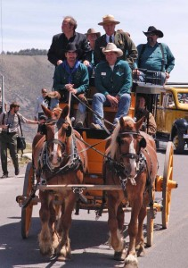 Montana Gov. Brian Schweitzer and Yellowstone National Park Superintendent Dan Wenk take a brief stagegoach ride to Arch Park on Thursday at the Gardiner Gateway Project kickoff event. (Ruffin Prevost/Yellowstone Gate - click to enlarge)