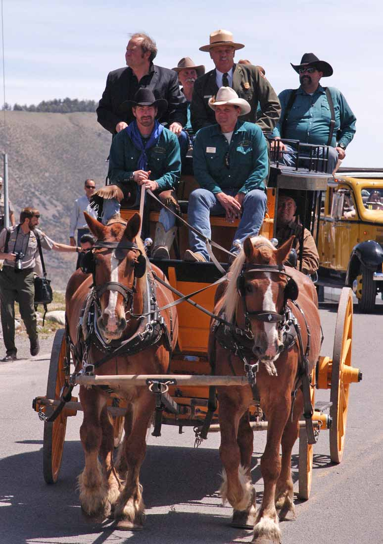 Montana Gov. Brian Schweitzer and Yellowstone National Park Superintendent Dan Wenk take a brief ride in a replica stagegoach in June 2012 for the Gardiner Gateway Project kickoff event. (Ruffin Prevost/Yellowstone Gate - click to enlarge)
