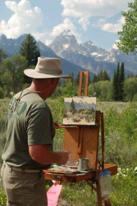 Artist Wes Newton creates an original oil painting during the first Plein Air for the Park show and sale in Grand Teton National Park. (NPS photo - click to enlarge)