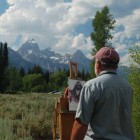 "Artists Don Dernovich participates in a ""quick draw"" art show and sale during the first Plein Air for the Park event in Grand Teton National Park. (NPS photo - click to enlarge)"