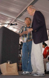 Former Transportation Secretary Norman Mineta and former Sen. Alan Simpson speak in August 2011 at the opening of the Heart Mountain Interpretive Center east of Yellowstone National Park. (Yellowstone Gate/Ruffin Prevost - click to enlarge)