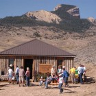 The Trailhead Cabin at The Nature Conservancy Heart Mountain Ranch offers a basecamp with interpretive displays for hikers and others using the land. (Yellowstone Gate/Ruffin Prevost - click to enlarge)