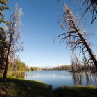At an elevation of about 9,000 feet and 3.5 miles from an established trail, Mirror Lake on Yellowstone's Mirror Plateau is one of the park's more remote destinations. (Bradly J. Boner/WyoFile — click to enlarge)