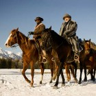 Actors Jamie Foxx, left, and Christoph Waltz appear in a publicity image from Django Unchained, a new movie filmed in Grand Teton National Park and the surrounding area. (©Columbia Pictures - click to enlarge)
