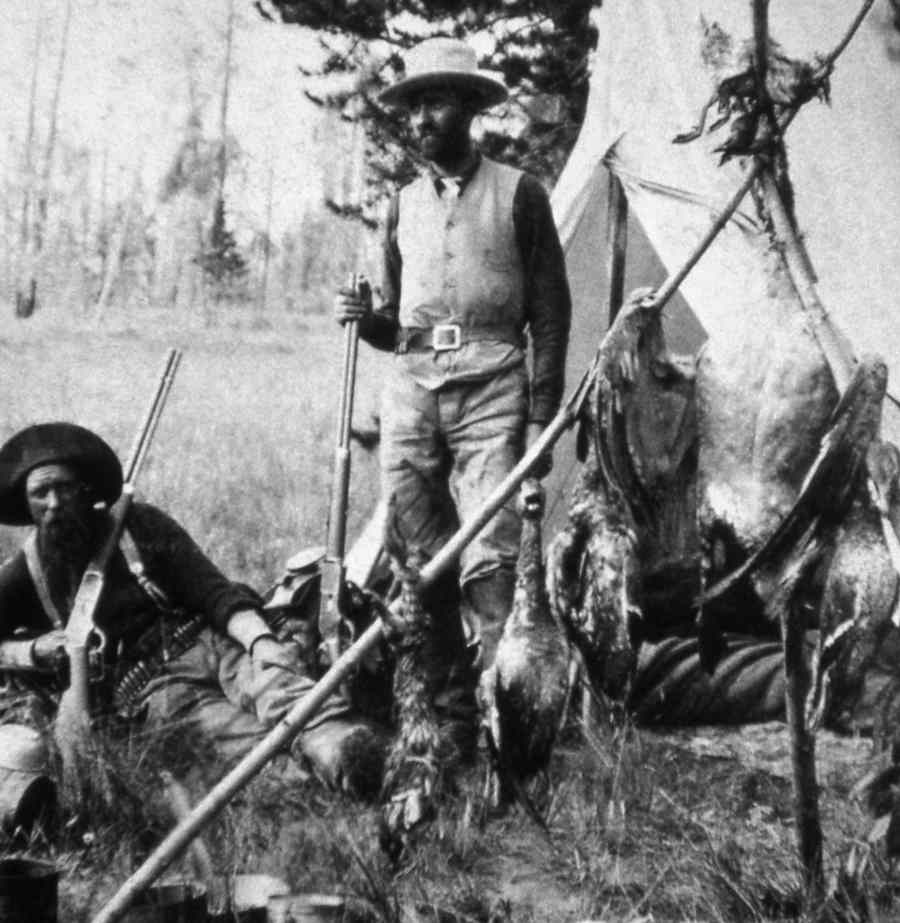 Hunters were among the early visitors to the area that is now Yellowstone National Park. (Yellowstone Park Digital Slide File)