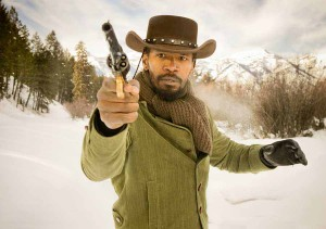 Actor Jamie Foxx draws his gun in a publicity image from a scene in the movie Django Unchained that was shot in February in Jackson Hole, Wyo. (©Columbia Pictures - click to enlarge)