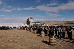 Hundreds stood in line for hours for a chance to be among the first to buy Wyoming Whiskey during a launch party Saturday at the company's distillery in Kirby, Wyo. (Ruffin Prevost/Yellowstone Gate - click to enlarge)