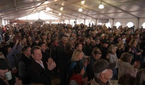 An estimate crowd of more than 3,000 people turned out for the Wyoming Whiskey launch party Saturday at the company's distillery in Kirby, Wyo. (Ruffin Prevost/Yellowstone Gate - click to enlarge)