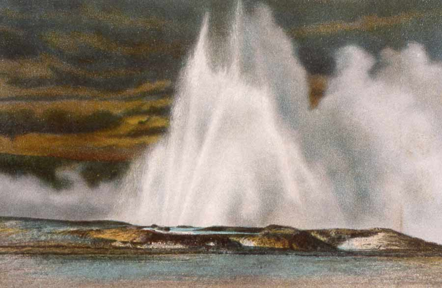 An early Haynes postcard from the Yellowstone National Park digital slide file shows Fountain Geyser.