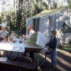 Campers prepare a meal at Indian Creek Cmpground in Yellowstone National Park in this 1977 file photo. (J. Schmidt - click to enlarge)