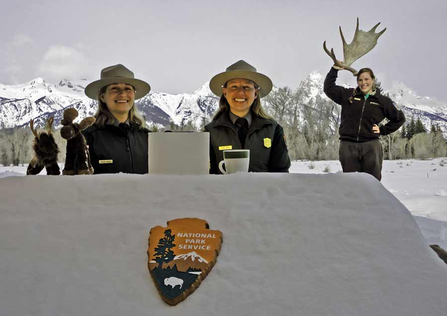 Rangers from Grand Teton National Park participated in a 'Snowdesk' webcast to teach students about park ecology. (NPS photo - click to enlarge)