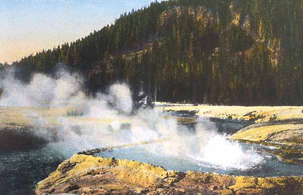 A postcard of Cliff Spring from 1928 based on a photo by Asahel Curtis. (NPS image)
