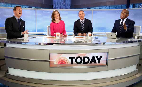 """""""Today"""" show anchors Willie Geist, left, Natalie Morales, Matt Lauer and Al Roker will broadcast Tuesday from Old Faithful in Yellowstone National Park. (NBC photo by Peter Krame)"""