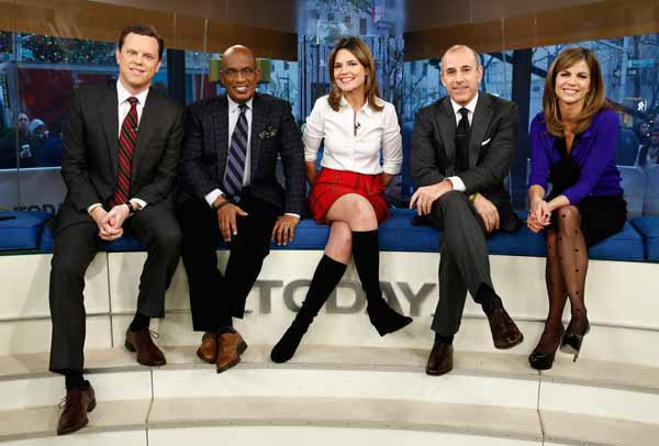 """""""Today"""" show anchors Willie Geist, from left, Al Roker, Savannah Guthrie, Matt Lauer and Natalie Morales will broadcast Tuesday morning from Old Faithful in Yellowstone National Park. (NBC photo by Peter Krame)"""