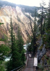 More than 300 steps make up Uncle Tom's Trail to view the Lower Falls of the Yellowstone River in Yellowstone National Park. They look even more daunting on the way up. (Ruffin Prevost/Yellowstone Gate)