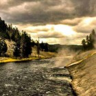An overcast sky creates dramatic lighting along a steaming river in Yellowstone National Park. Dylan Rorabaugh Natrona County High School