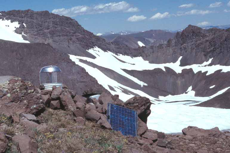 A moth trap set up at high elevation along rocky slopes is used by researchers in the greater Yellowstone area who study how grizzly bears rely on moths as an important food source.