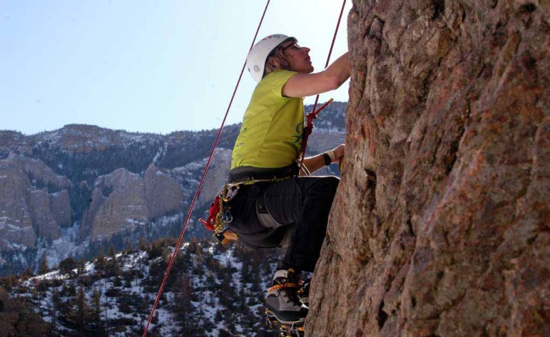 Matt Burklow partcipates in a beginners clinic in Shoshone Canyon on Saturday during the 16th Annual Cody Ice Climbing Festival in Cody, Wyo.