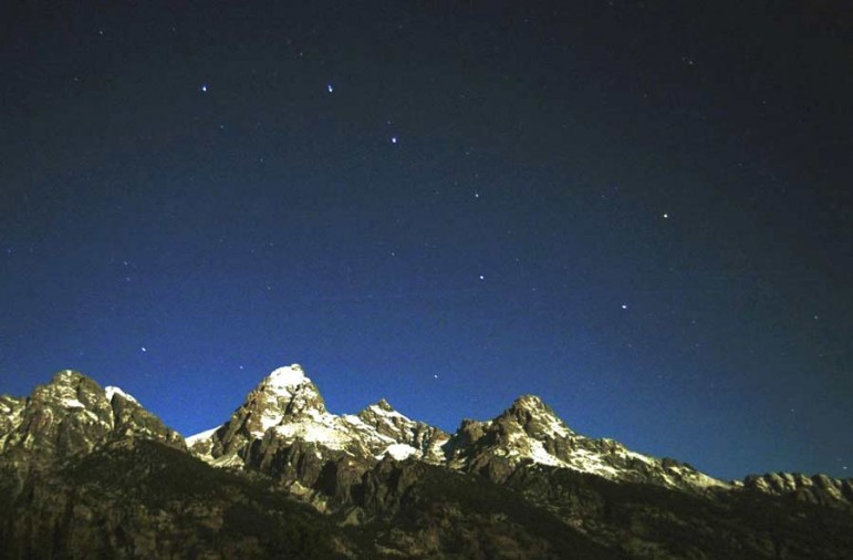 The Big Dipper is visible over the Tetons in Grand Teton National Park.