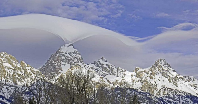 A 'cloud dance' over the Grand Teton captured the attention of many this week in Grand Teton National Park.