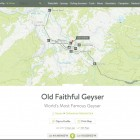 A sample entry from Natural Atlas offers topographical maps showing the location of Old Faithful Geyser in Yellowstone National Park.