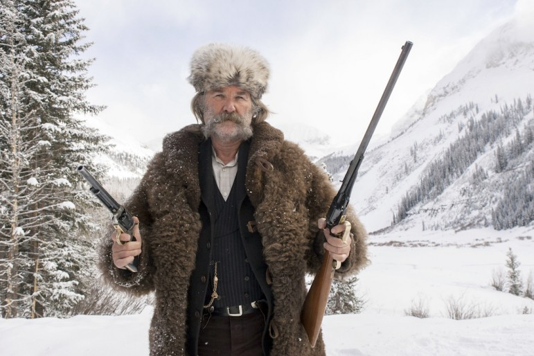 """Actor Kurt Russell appears in the upcoming film """"The Hateful Eight"""" wearing a bison hide coat created by Merlin Heinze of Thermopolis, Wyo."""