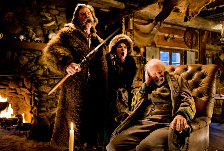 """Actors Kurt Russell, left, Jennifer Jason Leigh and Bruce Dern appear in a scene from """"The Hateful Eight,"""" an upcoming film from director Quentin Tarantino."""