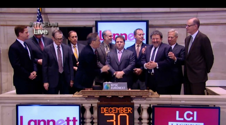 A screen capture of the live stream of the New York Stock Exchange shows Lannett Co. CEO Arthur Bedrosian, third from right, as he is joined by members of the Lannett management team to ring the opening bell on Dec. 30, 2013.