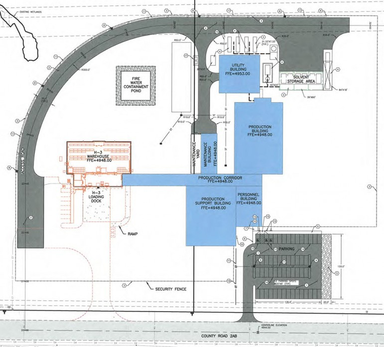 A site plan shows the layout of a proposed Cody Labs pharmaceutical manufacturing and storage campus in north Cody, Wyo. The company is seeking state funds to help pay for construction of a new $45 million production facility.