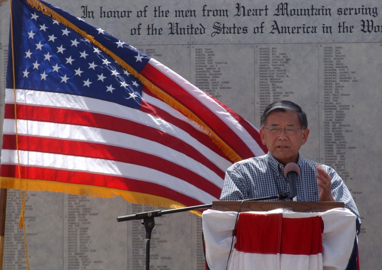 Former Transportation Secretary Norman Y. Mineta speaks during the August 2011 grand opening and dedication of the Heart Mountain Interpretive Center near Cody, Wyo.